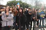 Protest studentů v univerzitním konviktu v Olomouci. 15. března 2018