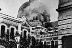Hořící olomoucká synagoga