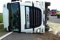 Nehoda kamionu na obchvatu Olomouce - 27. 7. 2018