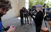 Natáčení detektivky Modré stíny v Univerzitní ulici v Olomouci