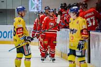 Hokejisté Mory (v červeném) hostili v zápase 9. kola extraligy České Budějovice.