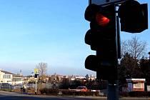 Semafor na křižovatce U Anči v olomoucké čtvrti Hejčín