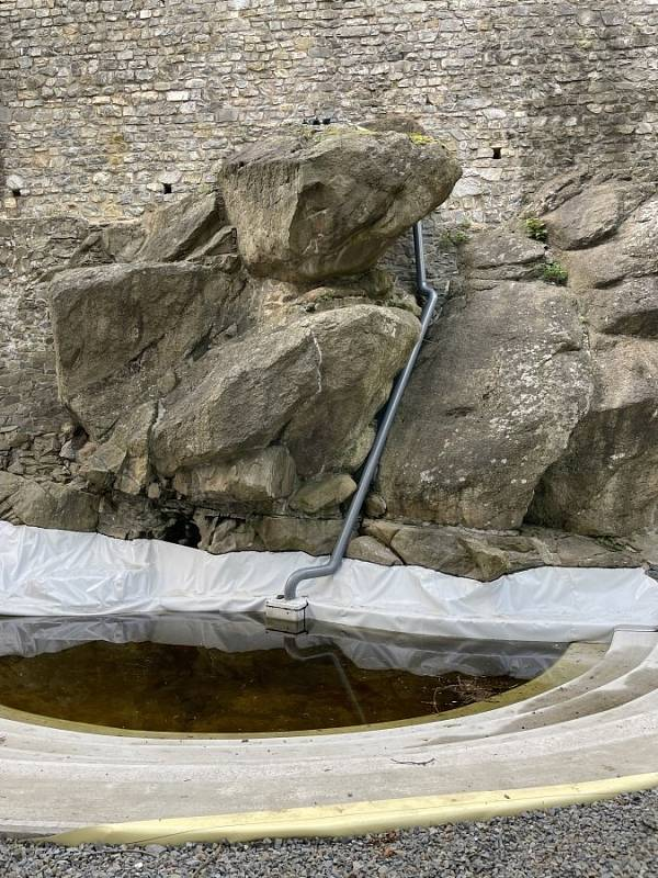 Vodopád v Bezručových sadech v Olomouci, 18. srpna 2021