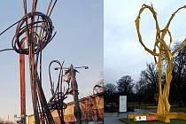 Nová plastika Jana Dostála nazvaná Smyce (vlevo). Olomoucký sochař je také autorem Stvůry ve Smetanových sadech (vpravo)