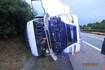 Havárie kamionu na D35 u Přáslavic, 31.7.2019