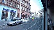 Zkušební jízda tramvaje rekonstruovanou ulicí 1. máje 14. listopadu 2017