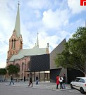 Studie stavebních úprav Červeného kostela na třídě Svobody v Olomouci
