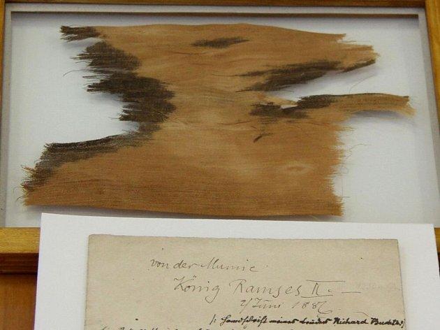 Fragment plátna mumie faraona Ramesse II. (1279 – 1213 př. n .l.) a průvodní text Richarda Buchty (1845 – 1894)