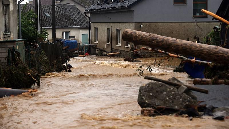 Břevenec, 8. června 2020 ráno. Následky bleskové povodně