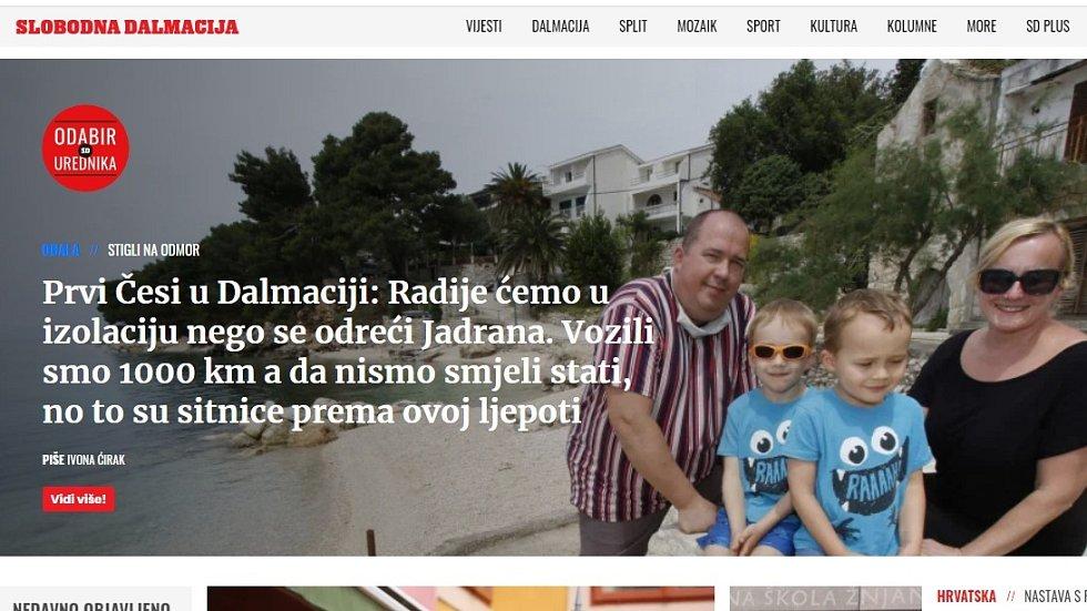 Slobodna Dalmacija. Pobyt rodiny z Olomouce na Makarské riviéře záhy po uvolnění mimořádných opatření zaujal i místní média