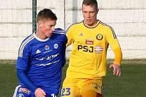 Jakub Rolinc (vlevo). Tipsportliga - Sigma Olomouc (v modrém) vs. Jihlava