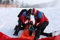 Ukázkový zásah horské služby s využitím mobilní aplikace Záchranka.