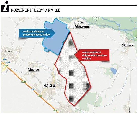 Plánované rozšíření těžby vNákle