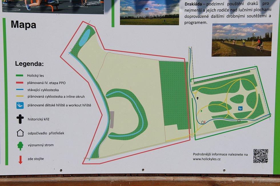 Na mapě jsou vyznačena místa, kde v budoucnu vznikne nové dětské hřiště, venkovní posilovna a fitstezka s inline okruhem.