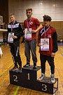Žáci do 75 kg - 1. Trojka (Třinec), 2. Jozefák (Nivnice), 3. Tóth (Olomouc).