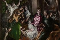 Výřez obrazu Klanění pastýřů od El Greca