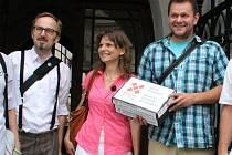Zastupitelé z hnutí Občané pro Olomouc. Zleva Pavel Bednařík, Dominika Kovaříková, Michal Krejčí