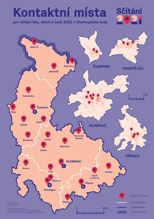 Mapa kontaktních míst v Olomouckém kraji, kde bude možné vyzvedávat a odevzdávat sčítací formuláře
