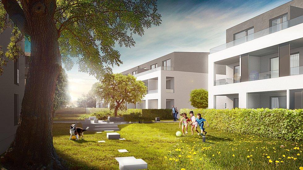Vizualizace vnitřního parku mezi novými domy u Demlovy ulice
