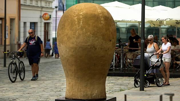 Velká hlavička Kurta Gebauera na Dolním náměstí v Olomouci