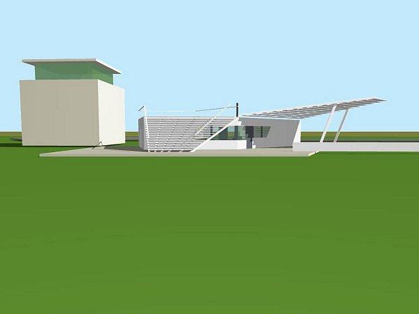 Vizualizace letiště vNeředíně, sociální zázemí a bufet
