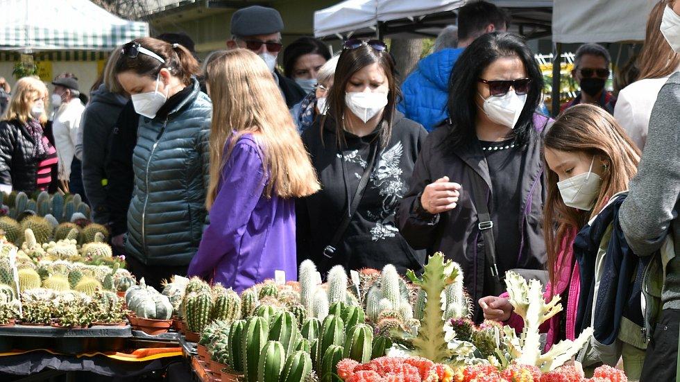 První Zahradnické trhy roku 2021 na výstavišti Flora Olomouc. 24. dubna 2021