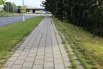 Místo střetu dvou cyklistů poblíž Hotelového domu v Olomouci