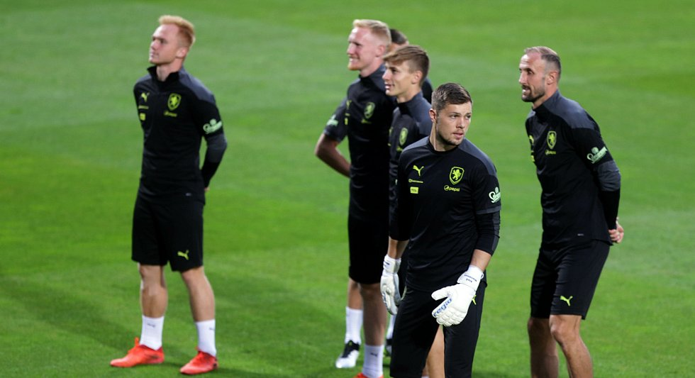 Trénink fotbalové reprezentace před utkáním se Skotskem.