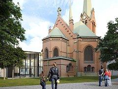 Vizualizace rekonstrukce a dostavby Červeného kostela v Olomouci