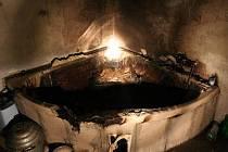 Požár v koupelně rodinného domku v Chravátech