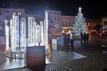 Vánoční strom a výzdoba ve Šternberku. 29. listopadu 2020