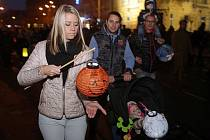 Lampionový průvod a ohňostroj na oslavu Státního svátku 28.října v Olomouci.