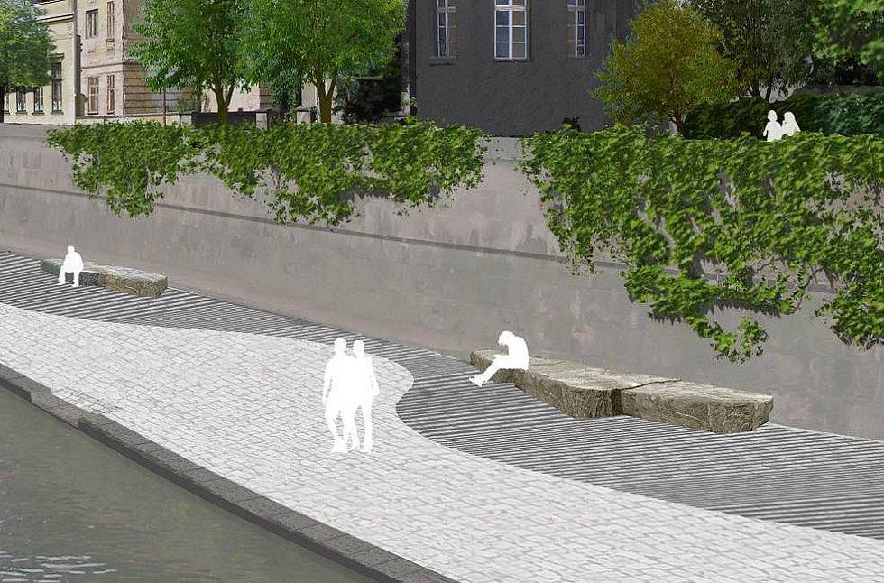 Takzvaná berma, která vznikne na nábřeží mezi mostem na Komenského ulici a mostem na Masarykově třídě. Zdroj vizualizace - Povodí Moravy