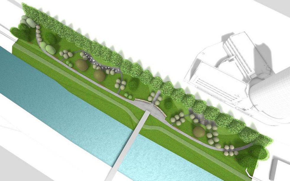Park, který vznikne u řeky Moravy poblíž mostu na třídě Kosmonautů. Zdroj vizualizace - Povodí Moravy
