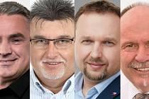 Lídři některých stran kandidujících v Olomouckém kraji ve volbách do Poslanecké sněmovny 2021. Ilustrační koláž