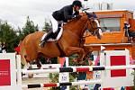 Radovan Cibere (SK) a Dollar Look. Světový pohár v jezdeckém areálu Equine Sport Centre v Olomouci