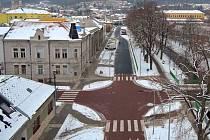 Zrekonstruované křížení ulic Masarykova a Krampolova ve Šternberku