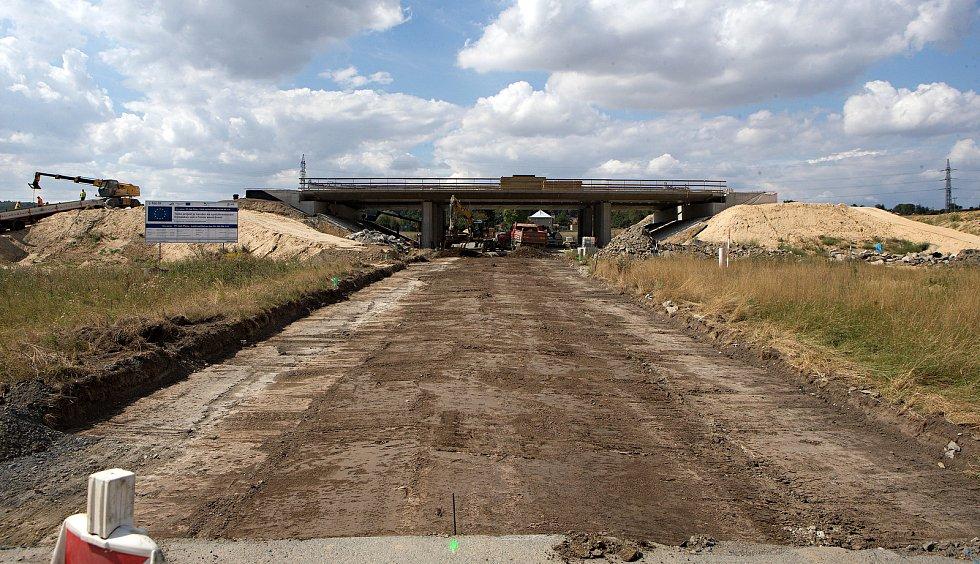 Srpen 2018. Stavba dálnice D1 Lipník - Přerov u Buku