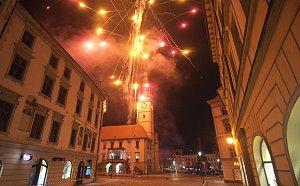 Ohňostroj ke 100 letům republiky v Olomouci