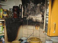 Požár kuchyně v Dražební ulici