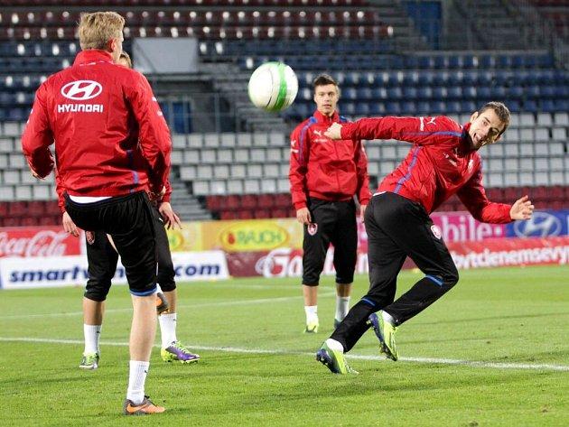 Trénink české reprezentace na Andrově stadionu v Olomouci