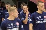 Trénink české fotbalové reprezentace na Andrově stadionu před zápasem s Černou Horou. Patrik Schick (uprostřed)