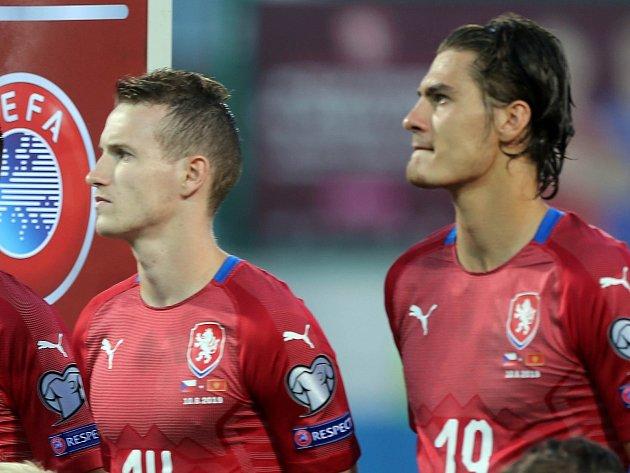 Jakub Jankto a Patrik Schick před kvalifikačním zápasem ČR - Černá Hora vOlomouci
