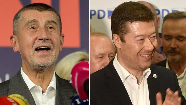 Šéf ANO Andrej Babiš a lídr SPD Tomio Okamura na tiskoých konferencích k volebním úspěchům