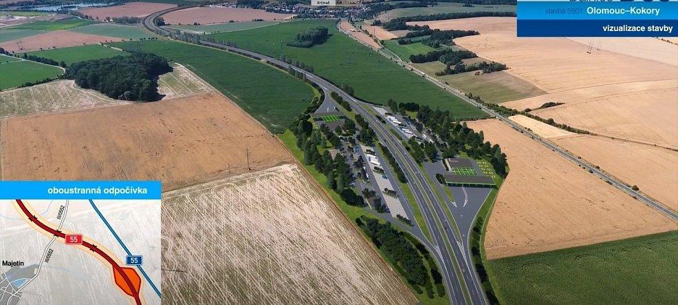 Vizualizace dálnice D55 Olomouc - Kokory