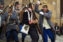 Rekonstrukce prusko-rakouské bitvy z roku 1866. Ilustrační foto