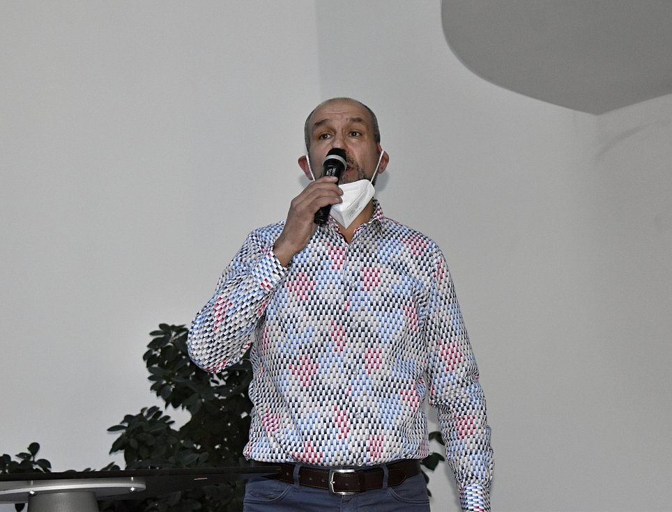 Volební valná hromada Olomouckého krajského fotbalového svazu v BEA centru. Pavel Peřina, sekretář Ol KFS. 31.3. 2021