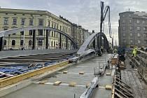 Výstavba mostu na Masarykově třídě v Olomouci, 5. února 2021