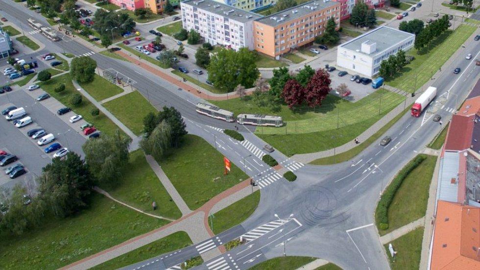 Vizualizace tramvajové trati na Nové Sady a do Slavonína. Rooseveltova - Zikova ulice