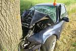 Řidič u Hněvotína narazil do stromu